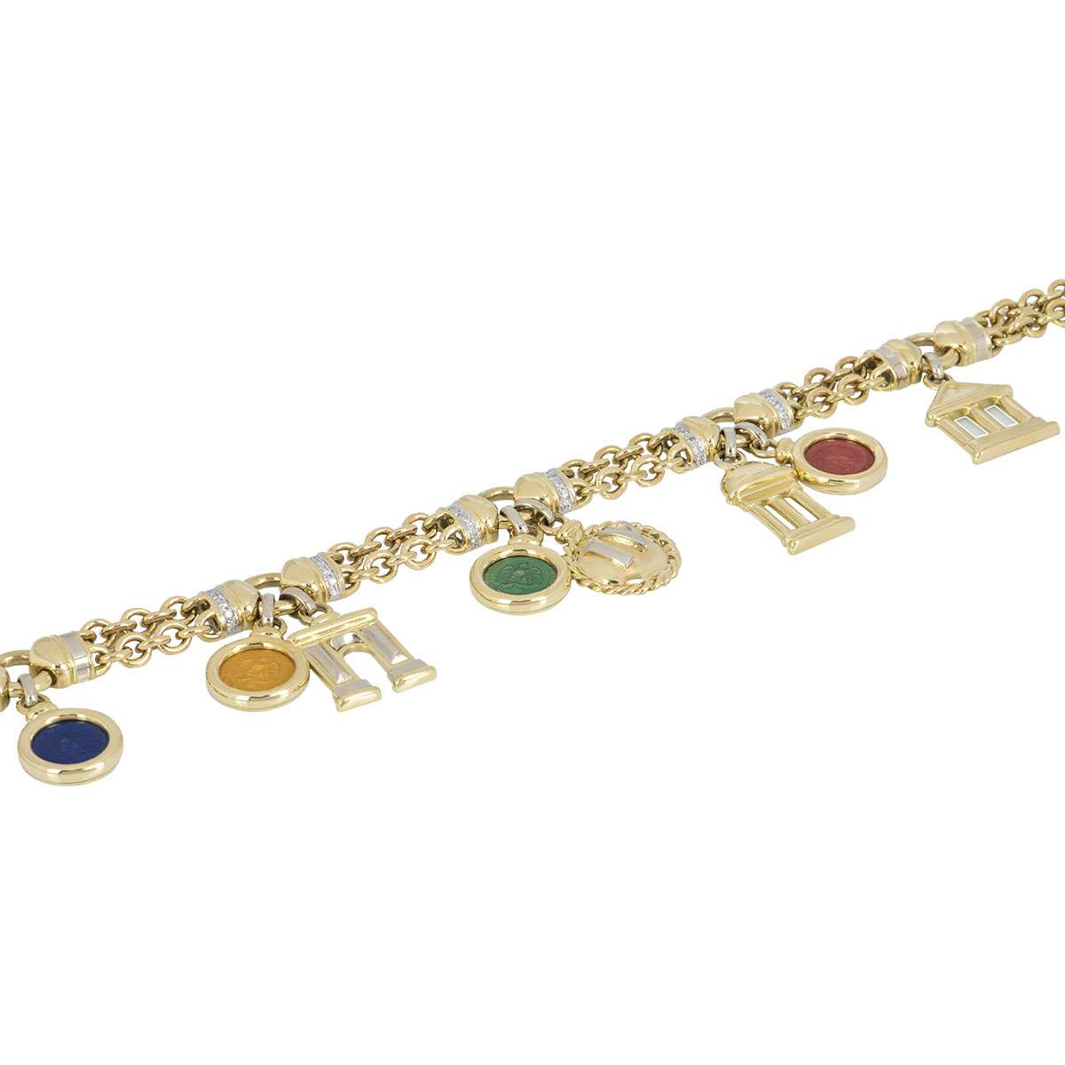 Yellow Gold Diamond Charm Necklace